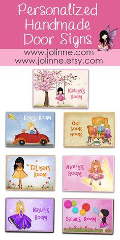 #JolinneArt Kids Gift Ideas Personalized door sign for girls and boys room or nursery design www.jolinne.com www.jolinne.etsy.com www.amazon.com/handmade/Jolinne