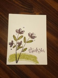 Thank you card using Mother's Love (2015 Occasions Catalog from Stampin' Up!), Work of Art and Sassy Salutations.  I used Perfect Plum, Old Olive and Black StazOn ink.