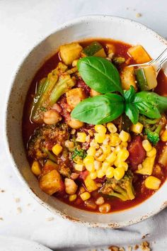 Easy Vegetarian Summer Chili that's savory, hearty, and perfect for a quick and delicious summer weeknight dinner! (Vegan, Gluten Free, Dairy Free)