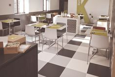 With endless possible combinations to customize your floor, ID Inspiration 70 vinyl tiles and planks take interior decoration to a new level. Floor is the new playground. Luxury Vinyl Tile Flooring, Office Floor, Possible Combinations, Plank, Interior Decorating, Inspiration, Furniture, Caffeine, Floors