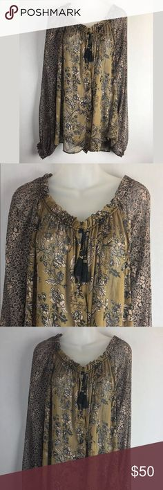 """Free People boho peasant oversized tunic top Free People Size Large Nylon Chiffon Drawstring neckline Buttons down the front Oversized, flowing  Excellent, pre-owned condition Can be machine washed  Under arms across back is 30"""" Down center of back is 27"""" Free People Tops Tunics"""