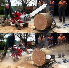 ' 8 of the Coolest Non-Auto Uses of a Car Engine' This V8 chainsaw chops down wood like knife through butter. #video #spon