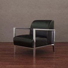 Modena Modern Black Leather Accent Chair - Overstock™ Shopping - Great Deals on Living Room Chairs