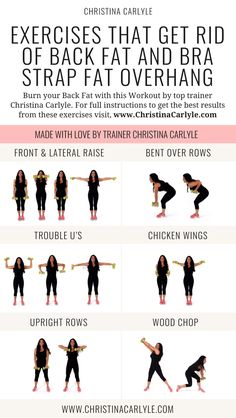 Exercises for Back Fat and bra overhang by trainer Christina Carlyle christinacarlyle…. Exercises for Back Fat and bra overhang by trainer Christina Carlyle christinacarlyle…. Back Fat Workout, At Home Workout Plan, Back Fat Exercises At Home, Tone Arms Workout, Excersise For Back Fat, Workout Plans, Workout Ideas, Middle Back Exercises, Standing Abs Workout
