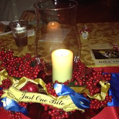 table decorations for snow white ballet ~ 'just one bite'