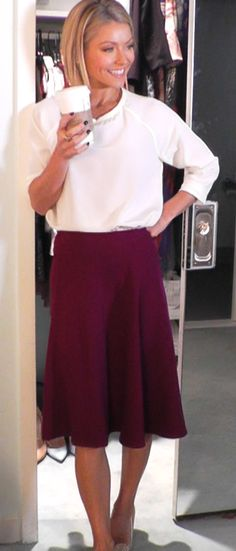 Kelly Ripa wore this Tibi Top and Prada Skirt from Neiman Marcus. Kelly and Michael Fashion Finder