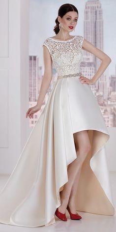 Pretty Lace & Satin Bateau Neckline Hi-lo A-line Wedding Dress With Belt
