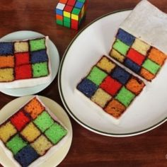 How cool are these rubics cube #cakes for #Kid's parties
