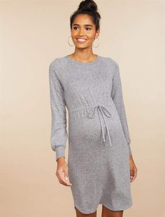 Motherhood Maternity offers a variety of fashionable maternity clothes, basics and accessories including stylish maternity dresses, swimsuits, tops, pants and so much more all at great prices. Shop online or visit us in-store today! Maternity Sweater Dress, Long Sleeve Maternity Dress, Fall Maternity, Stylish Maternity, Maternity Dresses, Maternity Fashion, Dress Long, Dress Images, Gray Dress