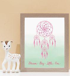 Dream Catcher Wall Art - Pink & Mint. Kids wall art and wall prints.  Shop Love JK for nursery decor and nursery ideas.