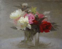 Old Fashioned Peonies by Richard Kochenash, Oil, 14 x 18 Peony Painting, Landscape Paintings, Floral Paintings, Watercolor Sketch, Pictures To Paint, Light Art, White Flowers, Still Life, Peonies