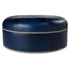 jackson round leather ottoman navy ottomans liked on polyvore featuring home