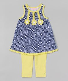 Blue Circle Tunic & Capri Leggings - Infant, Toddler & Girls by Kids Headquarters #zulily #zulilyfinds 12m up