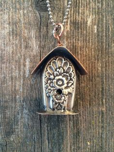 Soldered Silver and Copper Birdhouse Necklace