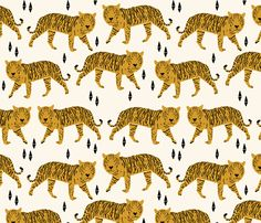 Tigers - Yellow fabric by papersparrow on Spoonflower
