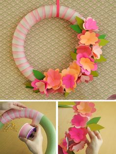 Weekday Crafternoon: Easter Wreath With Paper Flowers From HGTV's Design Happens Blog (http://blog.hgtv.com/design/2013/03/05/weekday-crafternoon-easter-wreath-with-paper-flowers/?soc=pinterest)