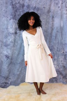 Natural Organic Wrap Dress by OraOrganicClothing on Etsy