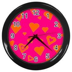 Vibrant Hot Pink And Orange Hearts Wall Clock (Black frame)  #hotpink