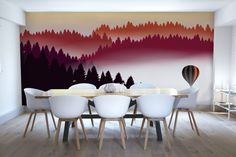 Abstract Air Balloon at Sunset Wall Mural