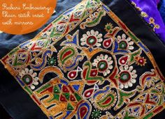 artnlight: Embroidery from Kutch - Rabari embroidery - chain stitch inset with mirrors. Hand Embroidery Dress, Indian Embroidery, Hand Embroidery Designs, Embroidery Stitches, Folk Embroidery, Ideas 2017, Kutch Work, Indian Patterns, Chinese Patterns
