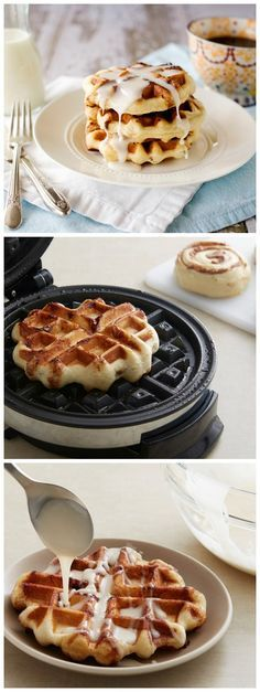 Easiest-ever Cinnamon Roll Waffles with Cream Cheese Glaze for breakfast or brunch!
