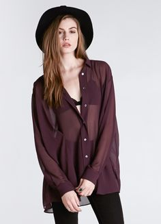"""Beautiful sheer wine colored blouse by Acne. Features gathered pleat detail, oversized fit, and button closure in front.  Condition: Excellent Label: Acne Studio Marked Size: 40 Color: Wine Fabric: 100% Polyester  Bust: 58"""" Waist: free Length: 30"""""""