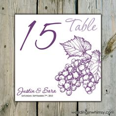 10 Custom Food Themed Table Numbers - Personalized for Weddings / Showers / Birthdays (90+ Design Options!) - Cluster of Grapes Winery