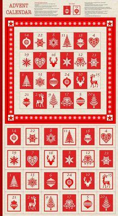 Skandinavische Weihnachten Advent Kalender Baumwolle gesteppt Panel Stoff Makower 1595