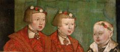 Maximilian of Austria (1527-1576), Ferdinand of Austria (1529-1595) and Johann of Austria (1538-1539), sons of Ferdinand I of Austria and his wife Anna of Bohemia and Hungary. Maximilian was married to Maria of Spain and they had 15 children. Ferdinand was married first to Philippine Welser and second to Anna Gonzaga. He had 7 children. Johann was never married and had no children.