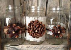 Pine Cone Flower Burlap Mason Jars