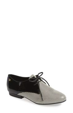 black and white houndstooth oxford flats