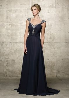 Alyce 29421 - Poly Chiffon one piece long dress with off-the-shoulder neckline. Gathering at the center with sequin beading running down center of bodice and the sleeves.