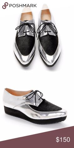 """NWOT Loeffler Randall Calla Platform Creeper Sz 10 Aodrable statement-making Loeffler Randall oxfords in silver mirrored leather with a black haircalf vamp. A zigzag sole supports the platform. Lace-up closure. Size 10!  Fur: Dyed haircalf (cow), from Brazil. Leather: Cowhide. Made in Brazil. Platform Height: 1.25""""  These fit true to US sizing. Sorry, these do not come in the original box. Please let me know if there are any questions! Loeffler Randall Shoes Platforms"""