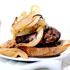 Need a new burger recipe? You'll love this one with seasoned beef and sauteed onions served on French bread.