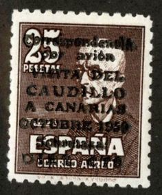 "Марка  Испании  1950  год. ( надпечатка  "" Визит  Каудильо.)     ...$  1 300."