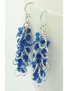Fine-quality, transparent, sapphire blue glass beads, shiny, silver-plated ovals, handcrafted round rings and handmade, non-tarnishing silver-plated ear wires star in this easy-to-make kit. Kit includes Miyuki glass fringe beads, ear wires and all th...