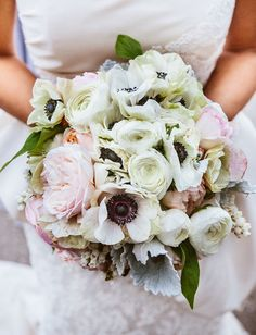 soft + romantic pink and white bouquet
