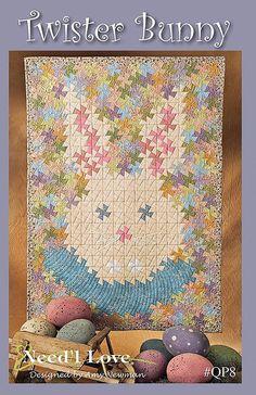 Twister Bunny Easter Rabbit Pinwheel Wall Lap Quilt Pattern Need'L Love