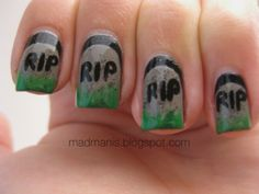 You know I gotta love this one! RIP tombstone nails manicure by madmanis halloween death