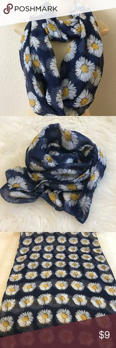 Dark blue daisy wrap around scarf In impecable condition. Nice lovely and vibrant colors. Daisy design. Dark blue. Great for any season. Accessories Scarves & Wraps