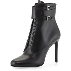 Prada Top-Buckle Lace-Up Bootie ($510) ❤ liked on Polyvore featuring shoes, boots, ankle booties, ankle boots, black, black booties, lace up high heel booties, black lace up booties and black buckle booties