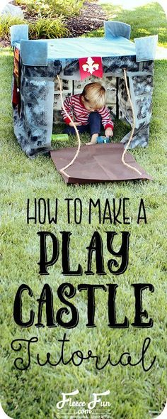 Wow I love this play castle tutorial. Such a great DIY idea for play for kids. Love how it fits onto a card table and folds into a bag when play is done! Craft Tutorials, Sewing Tutorials, Sewing Projects, Sewing Ideas, Fleece Projects, Sewing Tips, Quilting For Beginners, Sewing For Beginners, Kids Castle