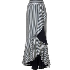 Hellessy Daffodil Midi Skirt (1,705 BAM) ❤ liked on Polyvore featuring skirts, stripe, high-waisted midi skirts, white knee length skirt, calf length skirts, white striped skirt and stripe skirts