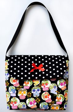 Sugar Skulls & Polka Dots Flap Purse - $16.29 - Sabbie's Purses and More