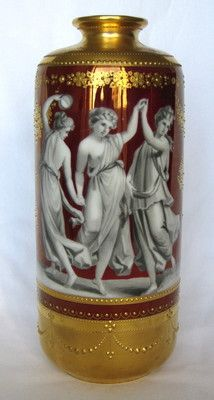 19th Century Dresden German Hand Painted Porcelain Vase