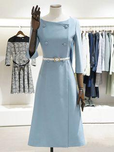 Work Sleeve Slit Solid A-line Bateau/boat neck Midi Dress - Work Sleeve. - Dresses for Work Trendy Dresses, Elegant Dresses, Women's Dresses, Cute Dresses, Vintage Dresses, Dresses For Work, Formal Dresses, Sleeve Dresses, Awesome Dresses