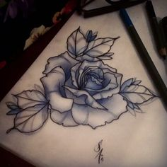 Rose for EJ :) always enjoy tattooing roses #tattoo #rose #neotraditional…