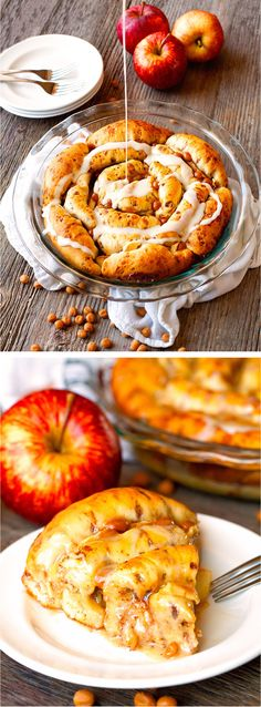 Caramel Apple Cinnamon Roll Pie comes together in 30 minutes with only 3 ingredients. This pie gets devoured in a matter of minutes every time!