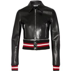 Givenchy Cropped leather biker jacket ($3,555) ❤ liked on Polyvore featuring outerwear, jackets, zipper leather jacket, genuine leather jackets, moto jacket, motorcycle jacket and biker jackets