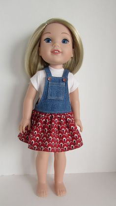 Denim and cotton jumper for WellieWishers Dolls by JenAshleyDollDesigns on Etsy. Made from a modified version of the Faux Button Jumper for WellieWishers Dolls pattern. Get it at http://www.pixiefaire.com/collections/doll-clothes-patterns-for-wellie-wishers-and-hearts-for-hearts-girls/products/faux-button-jumper-for-welliewishers-dolls. #pixiefaire #fauxbuttonjumperforwelliewishersdolls